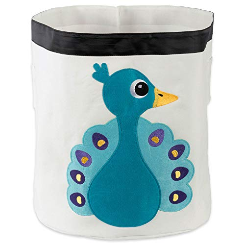 Peacock Basket - E-Living Store Collapsible Storage Bin Basket for Bedroom, Nursery, Playroom and More 17x18 Diameter - Peacock