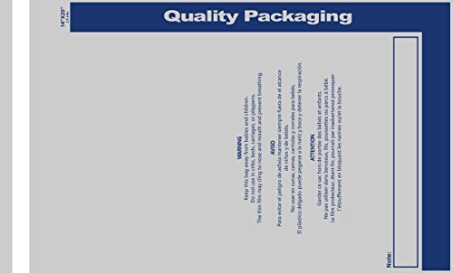 1000 Pack - Peel & Self Seal 2.5 Mil Clear Poly Bags with Suffocation Warning Labels, Permanent Adhesive & Premium Durability, 3 Sizes (14''x20'') by QQbed