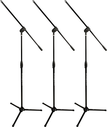 Ultimate Support MC-40B PRO 3-PACK - 3 Classic Series Tripod Style Microphone Stands with Three-way Adjustable Boom -