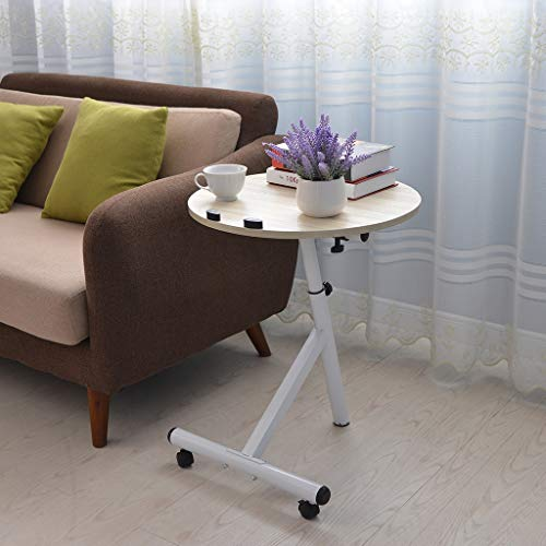 Sodoop Round Laptop Desk, Adjustable Lazy Small Side Coffee Table Computer Table,Foldable Portable on Bed Sofa Party Computer Play Table Lazy Personal Desk ()