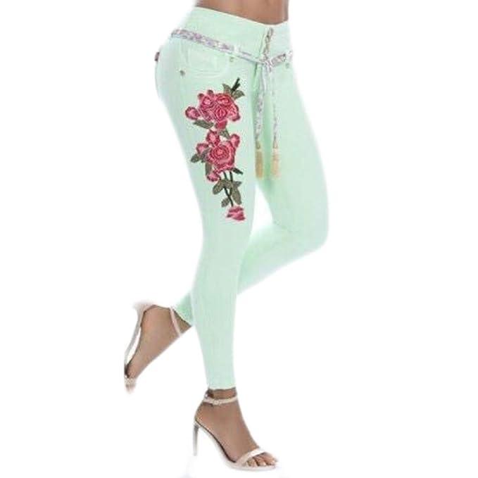 AmaSells Hot! Pantalones de Mezclilla Bordados con Flores ...