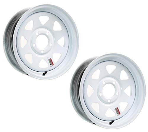 (2-Pack Trailer Wheel White Rim 15 x 5 Spoke Style 5 Lug On 5 in. Center)
