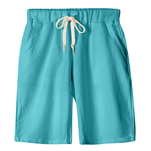 - XinDao Women's Plus Size Upgraded Version Soft Knitted Elastic Waist Casual Bermuda Shorts with Drawstring Lake Green