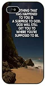 Nothing that has happened to you is a surprise to God - Rocks, sea - Bible verse iPhone 5 / 5s black plastic case / Christian Verses