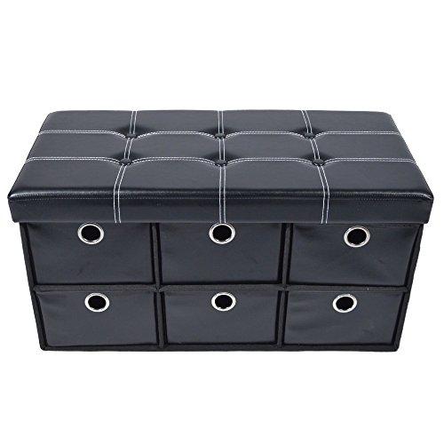 "Achim Home Furnishings OTDFL30BK2 Collapsible 6 Drawer Storage Ottoman, 30"" x 15"" x 15"", Black Leather"
