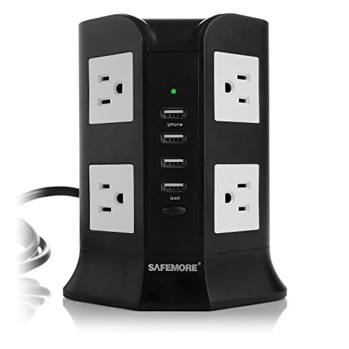 Hub End - Safemore 8-AC Outlets Power Strip with 2.1A 4 USB Charging Ports and 6.5-Feet Cord (Black/White)