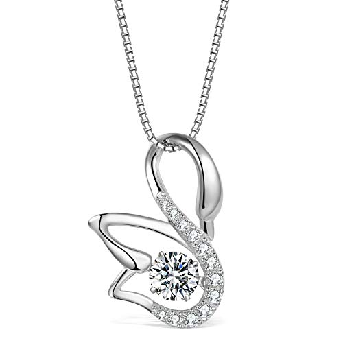 (T400 925 Sterling Silver Dancing Diamond Stone Cubic Zirconia from Swarovski Cat Fox Swan Pendant Necklace Birthday Gift for Women)