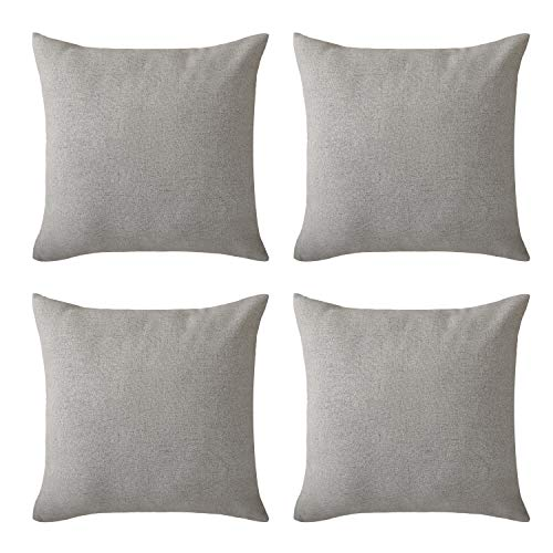 Deconovo Blank Pillow Covers Faux Linen Look Hand Made Pillow Case Cushion Cover 18x18 Inch for Bedroom Light Grey Set of 4 No Pillow Insert