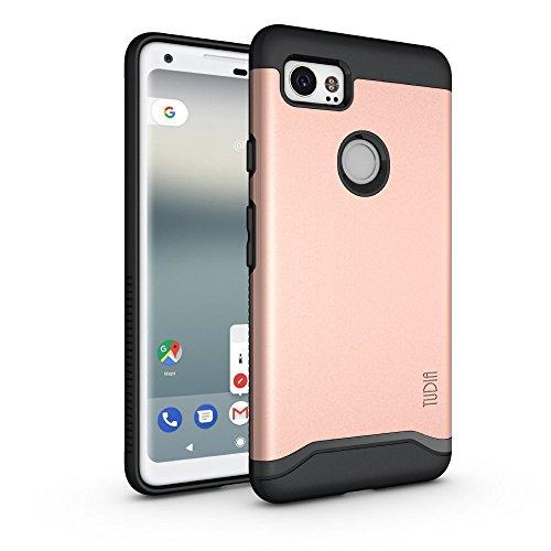 Google Pixel 2 XL Funda, Caja protectora TUDIA MERGE TAREA PESADA Protección EXTREME de doble capa para Google Pixel 2 XL (Oro Rosa) Oro Rosa