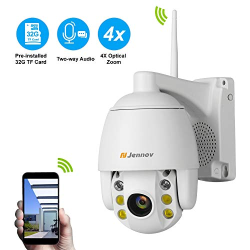 Two-Way Audio Wireless PTZ Security Camera,Jennov Home Surveillance Wireless Pan Tilt Zoom Camera Outdoor 1080p Strobe Light and Siren Alarm Weatherproof Wi-Fi 2.4G Only Ethernet Connection