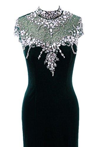 ivyd ressing Mujer favorita Cuello piedras fijo vestido franela Prom vestido para vestido de noche Verde