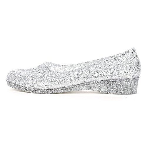 cool Womens Jelly nik Crystal Silver Shimmering Flat Sandals Bird Ballet Flats Shoes Nest 5rB5xwdWqE