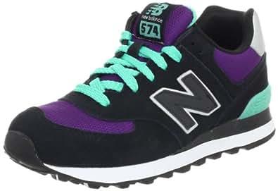 New Balance Women's Wl574 Neon Fashion Sneaker,Black/Purple,12 B US