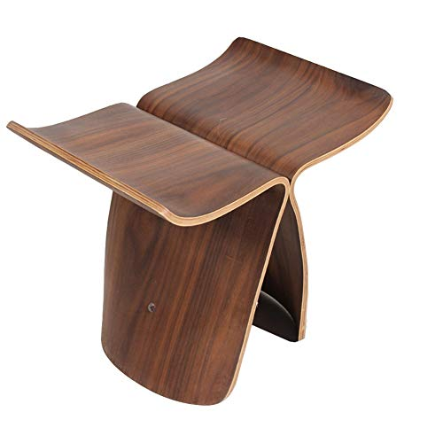 ZHAOYONGLI-Stools Footstools Creative Fashion Butterfly Stool Change Shoes Stool Stool Wood Small Bench Chair Living Room 44 31 40cm (Color : Walnut Color, Size : - Footstool Butterfly