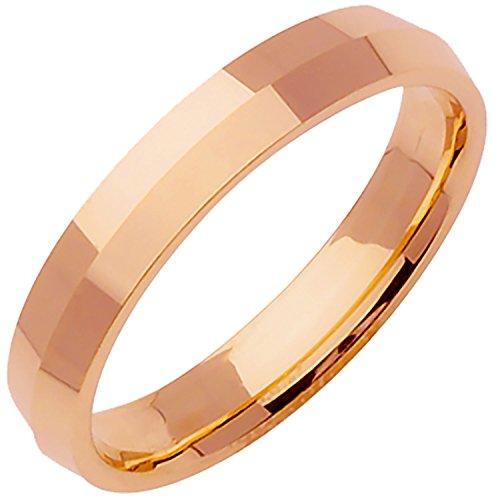 18K Rose Gold Traditional Knife Edge Men's Comfort Fit Wedding Band (4mm) (Gold Wedding Band Knife Edge)