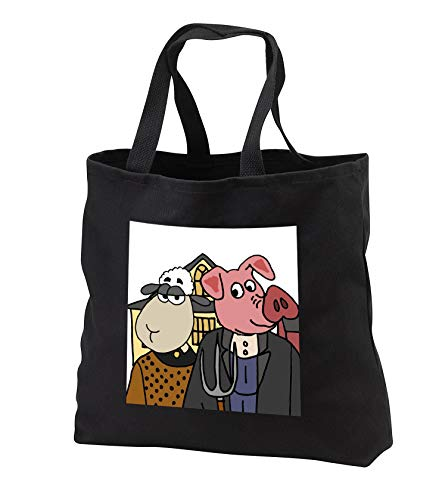 All Smiles Art - Animals - Cool Funny Pink Pig and Sheep American Gothic Farmers Art - Tote Bags - Black Tote Bag 14w x 14h x 3d (tb_308357_1)