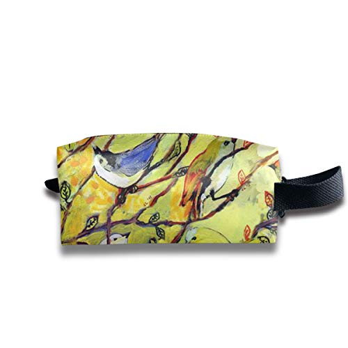 - Szipry Cosmetic Bag Travel Handbag Colored Bird Prints Womens Girls Toiletry Bag Zipper Wallet with Wrist Band