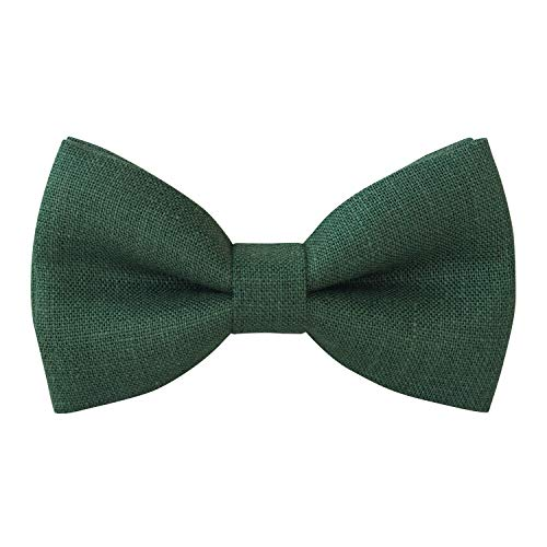 (Linen Classic Pre-Tied Bow Tie Formal Solid Tuxedo, by Bow Tie House (Medium, Hunter)