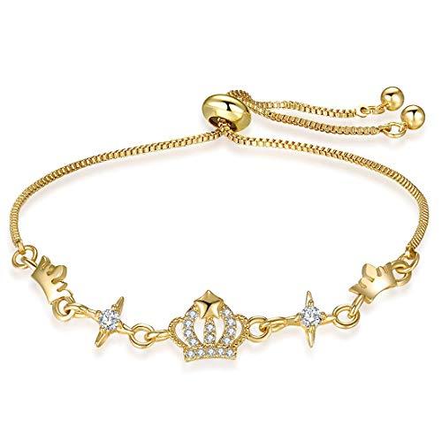 3UMeter Crown Crystal Station Women Bracelet Adjustable Alloy Sliding Bolo Silver Yellow Gold Bracelet for Girls