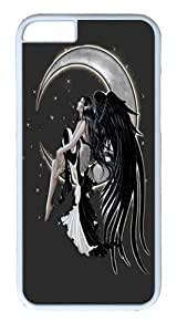 "iPhone 6 Case - Scratch Protection Ultra Slim Fit Hard PolyCarbonate White Plastic Case for Apple iPhone 6 (4.7"") with Pattern: Onyx Angel Glitter Print"
