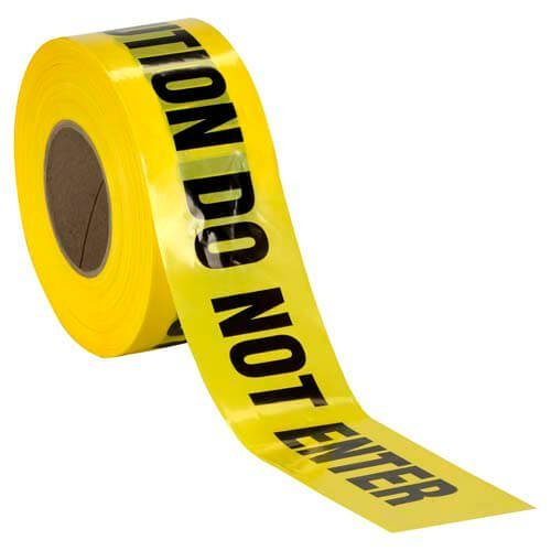 Caution Do Not Enter Barricade Tape • High Contrast for great Readability • Striking Yellow tape with Bold black font • Weatherproof Resistant Design (1000 Feet)