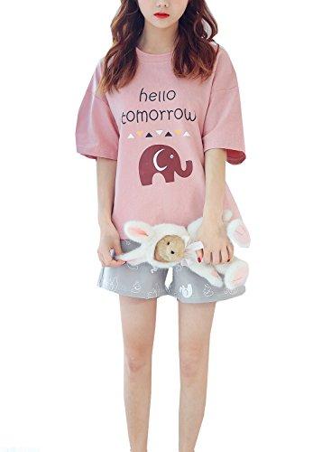 Leisure Home Big Girls Cute Soft Cotton Summer Pajama Sleepwear(8-15year) by Leisure Home