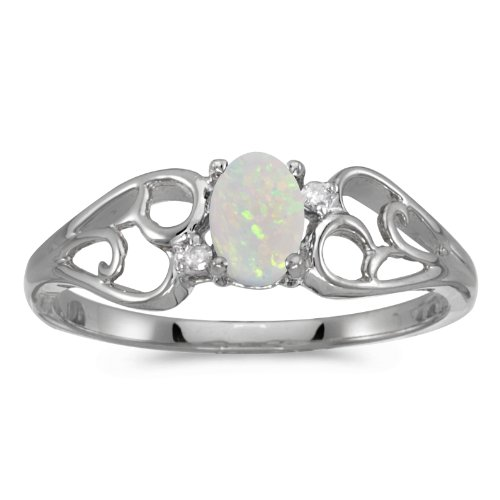 - 0.21 Carat ctw 10k Gold Oval White Opal & Diamond Heart Shape Swirl Filigree Fashion Promise Ring - White-gold, Size 7