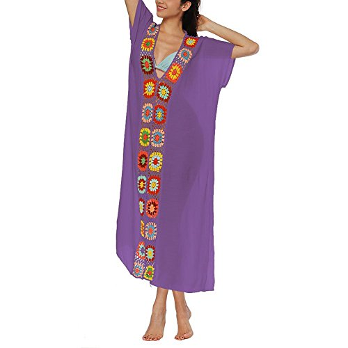 Short Purple Sling Hollow Dress Cover Neck Daxin Beach Printed Out Long up Womens Wear Backless V Dresses Sleeve AnPqw1