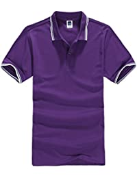 Men's Short-Sleeve Double Color Collars Polo Shirt AC04