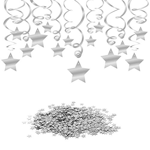 Konsait Hanging Swirl Silver Decorations(30 Counts) Silver Star Table Confetti(15 Gram), Silver Hanging Party Supplies for Wedding Shower Birthday Party Table Decor Twinkle Twinkle Baby Shower ()