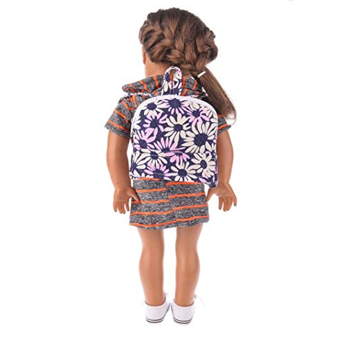Canvas Bag%school bag for American Girl Doll Of 18 Inch Doll Accessories Raptop (C)