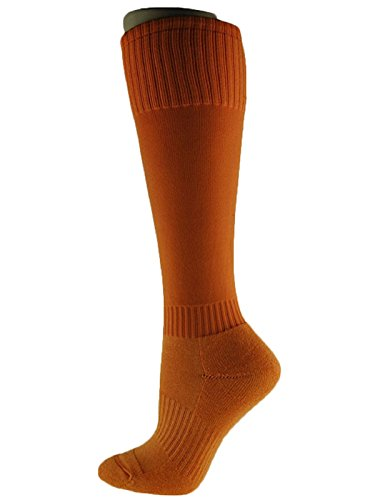 Price comparison product image Lian LifeStyle Unisex Youth 2 Pairs Knee High Cotton Sports Socks Large(Orange)