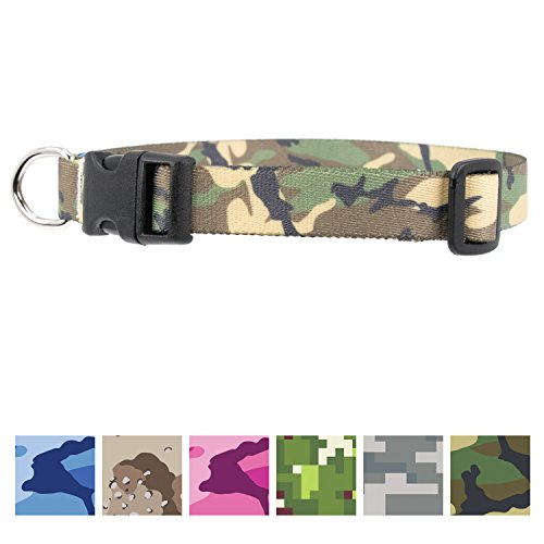Buttonsmith Woodland Camo Dog Collar - Fadeproof Permanently Bonded Printing, Military Grade Rustproof Buckle, Resistant to Odors & Mildew, Choice of 5 Sizes, Made in The USA ()