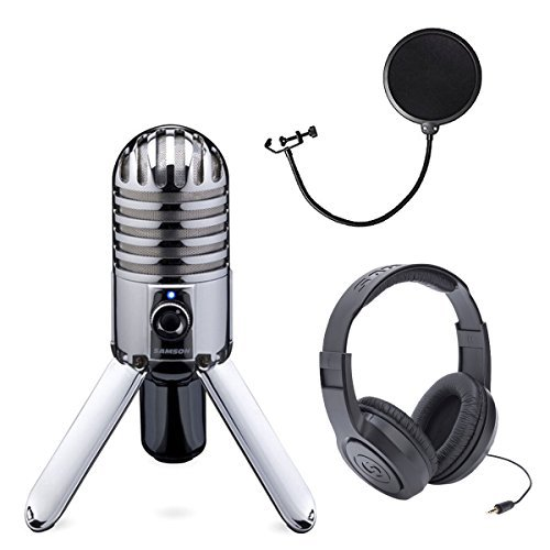 (Samson Meteor Mic USB Studio Microphone large diaphragm, built-in monitoring + Samson Stereo Headphones + Pop Filter)