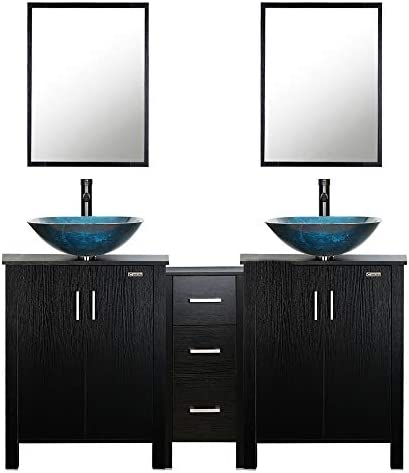 eclife 60 Bathroom Vanity Sink Combo Black W Side Cabinet Vanity Turquoise Square Tempered Glass Vessel Sink 1.5 GPM Water Save Faucet Solid Brass Pop Up Drain,With Mirror A10 2B04