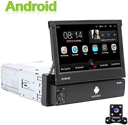 Android 1 DIN Radio de Coche GPS CAMECHO 7 Pulgadas hacia afuera Pantalla tactil capacitiva Bluetooth FM Radio WiFi Navegación Enlace Espejo para teléfono Android iOS + Cámara de visión Trasera: Amazon.es: Electrónica