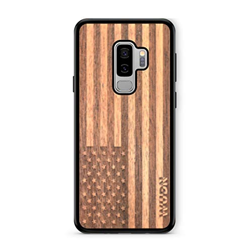 Mahogany Wood Case - Wooden Phone Case (American Flag in Mahogany) Compatible with Galaxy S 9 Plus, Samsung Galaxy S 9 Plus