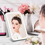 Makeup Mirror with Lights, HOCOSY Travel Vanity LED Mirror with stand, Touch Screen Switch, USB Charging,nature light, Portable & Tabletop lighted Cosmetic Mirror