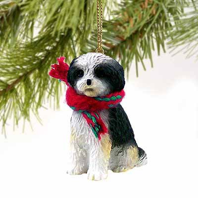 Shih Tzu Puppy Cut Miniature Dog Ornament - Black & White
