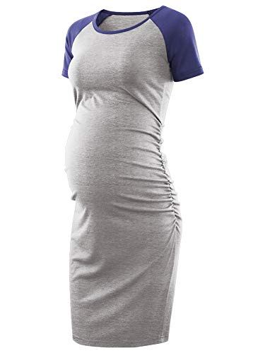BBHoping Women's Baseball Raglan Short Sleeve Maternity Dress Bodycon Dress Pregnancy Clothes Light Grey/Navy]()