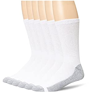 Hanes Men's 6 Pack Cushion Crew Socks, White, 2 Pack (12 Pairs), Shoe Size 12-14