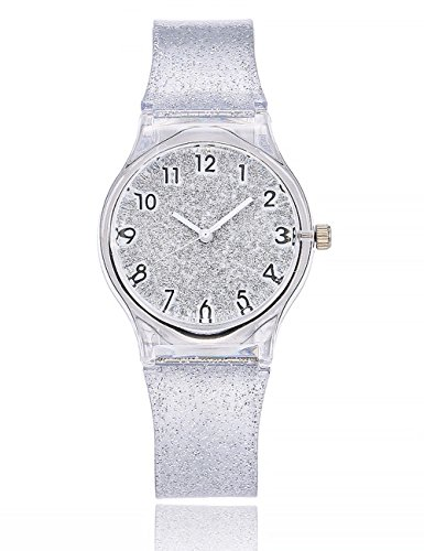 Women Starry Sky Watches COOKI Clearance Female Watches on Sale Star Lady Watches Cheap Watches Transparent Plastic Watch-A173 (Silver)