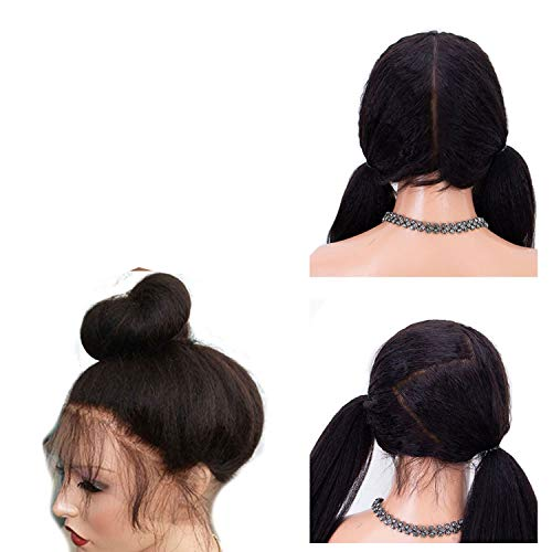 Full Lace Human Hair Wigs For Black Women Kinky Straight Wigs Lace Wig Brazilian Remy Pre Plucked Bleached Knots,#2,12inches,Full Lace -