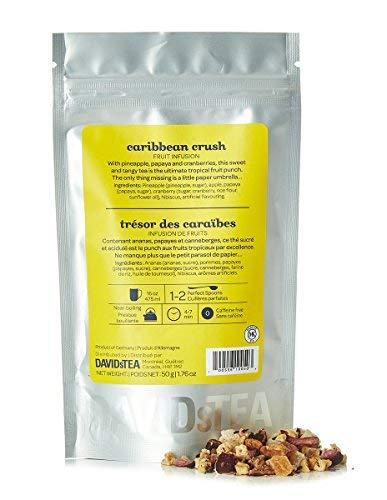 DAVIDsTEA Caribbean Crush Loose Leaf Tea, Premium Caffeine-Free Herbal Iced Tea with Papaya and Pineapple, 2 oz