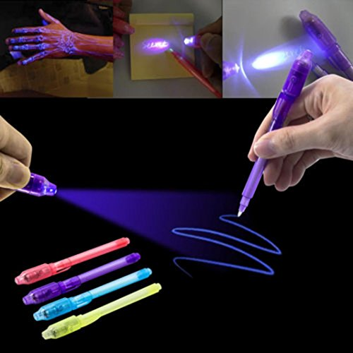 E-SCENERY Invisible Ink Pen, Spy Pen with Built in Uv Light Magic Marker for Drawing Secret Message Writing Currency Checking Kids Spy Game Party (Black) by E-SCENERY (Image #2)