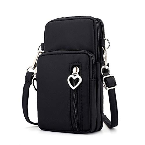 Zipper Crossbody Bag, Women Oxford 3-Layers Wristlet Shoulder Pouch Wallet Purse Armband Compatible iPhone Xs Max/LG V40 V35 G7 ThinQ/Stylo 4 / Motorola Moto g6 z3 e5 / Google Pixel 3 XL (Black) (Purse Iphone 4 Cases)