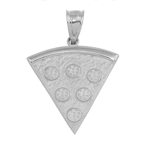 (Textured Sterling Silver Slice of Pizza Pie Charm)