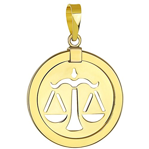 Libra Scales Zodiac - 14K Yellow Gold Reversible Round Libra Scale Zodiac Sign Pendant