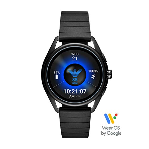 (Emporio Armani Men's Touch-Screen Smartwatch with Rubber Strap, Black, 20 (Model:)