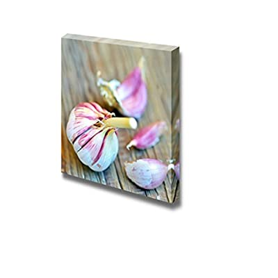 Canvas Wall Art - Garlic Bulb and Clove of Garlic on Old Wood | Modern Home Art Canvas Prints Gallery Wrap Giclee Printing & Ready to Hang - 24